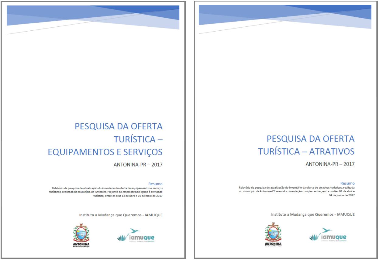 Capas Relatórios Pesquisa da Oferta Turistica