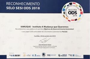 Certificado SESI ODS 2018