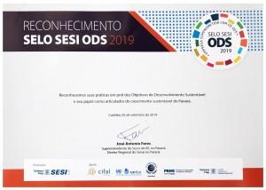 Certificado SESI ODS 2019